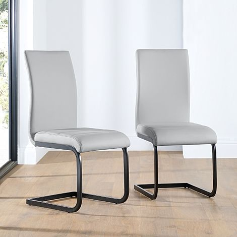 Perth Light Grey Leather Dining Chair (Black Leg)