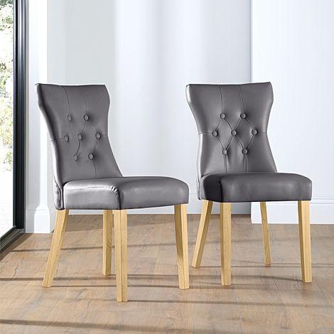 Bewley Grey Leather Button Back Dining Chair (Oak Leg)