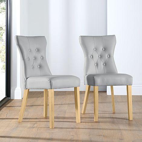 Bewley Light Grey Leather Button Back Dining Chair (Oak Leg)
