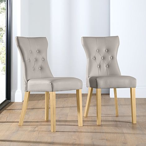 Bewley Stone Grey Leather Button Back Dining Chair (Oak Leg)