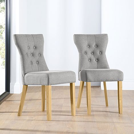 Bewley Light Grey Fabric Button Back Dining Chair (Oak Leg)