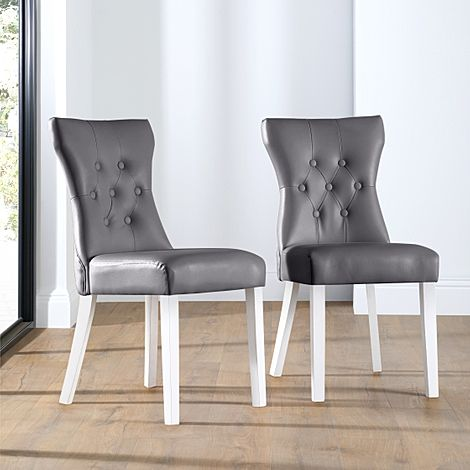 Bewley Grey Leather Button Back Dining Chair (White Leg)
