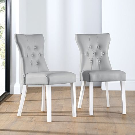 Bewley Light Grey Leather Button Back Dining Chair (White Leg)
