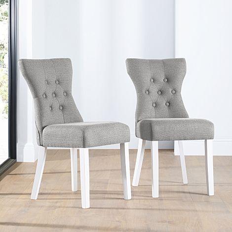 Bewley Light Grey Fabric Button Back Dining Chair (White Leg)