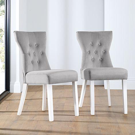 Bewley Grey Velvet Button Back Dining Chair (White Leg)