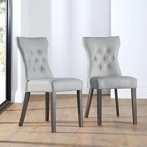 Bewley Light Grey Leather Button Back Dining Chair (Grey Leg)