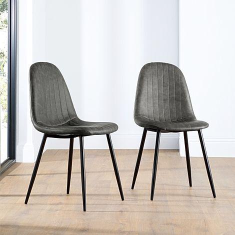 Brooklyn Vintage Grey Leather Dining Chair (Black Leg)