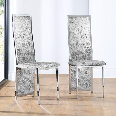Celeste Silver Crushed Velvet and Chrome Dining Chair