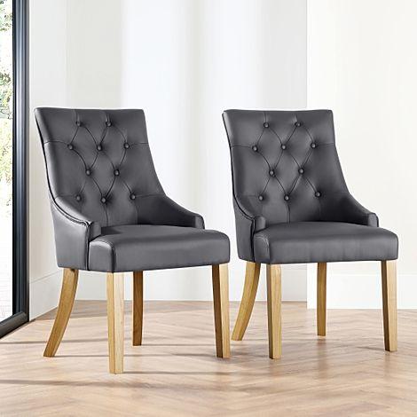 Duke Grey Leather Button Back Dining Chair (Oak Leg)
