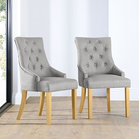 Duke Light Grey Fabric Button Back Dining Chair (Oak Leg)