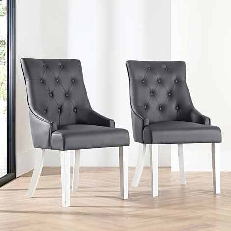 Duke Grey Leather Button Back Dining Chair (White Leg)