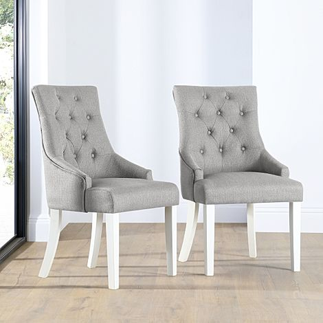 Duke Light Grey Fabric Button Back Dining Chair (White Leg)