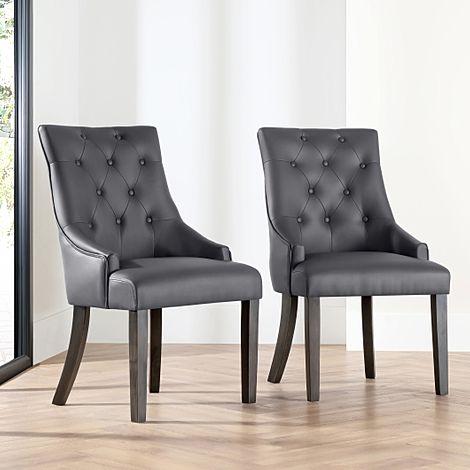 Duke Grey Leather Button Back Dining Chair (Grey Leg)