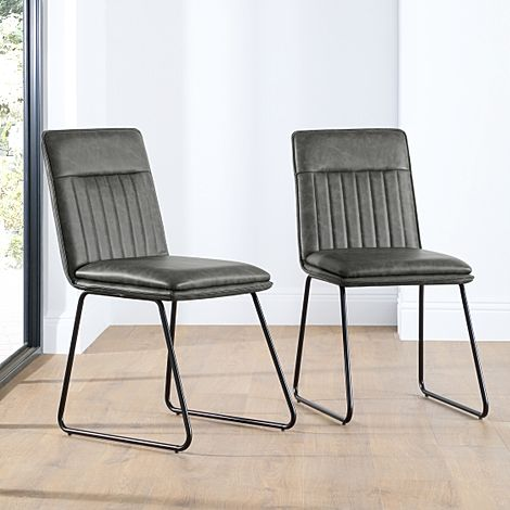 Flint Vintage Grey Leather Dining Chair (Black Leg)