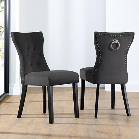 Kensington Black Velvet Button Back Dining Chair (Black Leg)