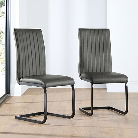 Perth Vintage Grey Leather Dining Chair (Black Leg)