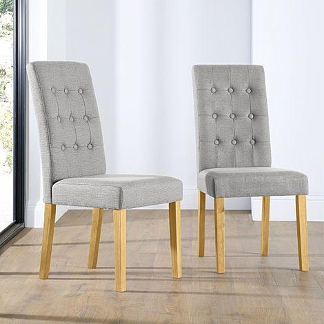 Regent Light Grey Fabric Button Back Dining Chair (Oak Leg)