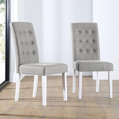 Regent Light Grey Fabric Button Back Dining Chair (White Leg)