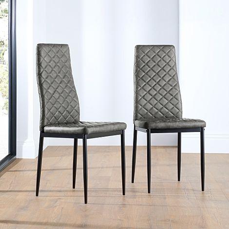 Renzo Vintage Grey Leather Dining Chair (Black Leg)