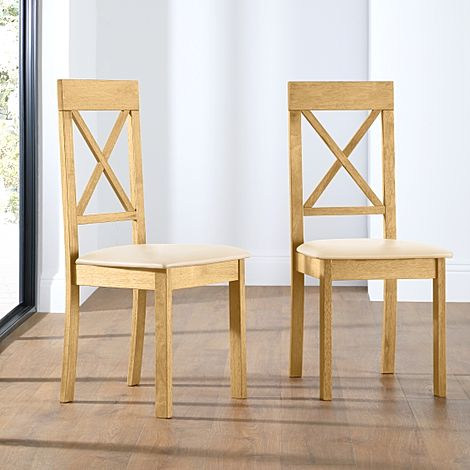 Kendal Oak Dining Chair (Ivory Leather Seat Pad)