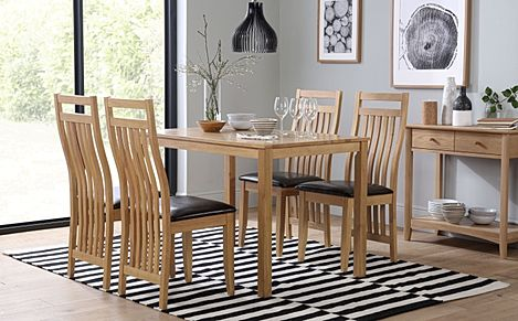 Milton Oak Dining Table with 4 Bali Chairs (Brown Leather Seat Pads)