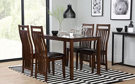 Milton Dark Wood Dining Table with 6 Java Chairs (Brown Leather Seat Pads)