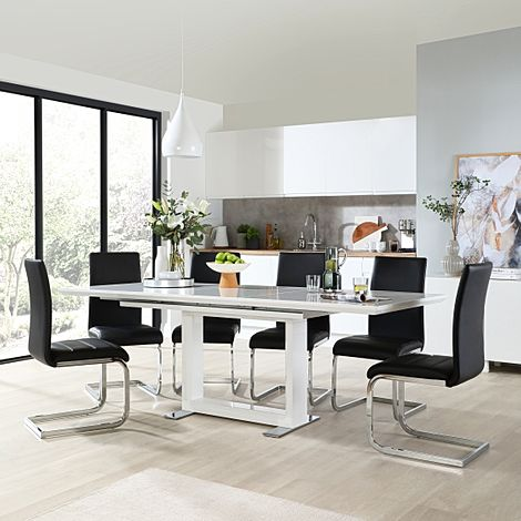 Tokyo White High Gloss Extending Dining Table with 6 Perth Black Leather Chairs