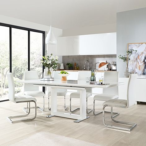 Tokyo White High Gloss Extending Dining Table with 8 Perth White Leather Chairs