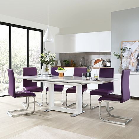 Tokyo White High Gloss Extending Dining Table with 6 Perth Purple Leather Chairs