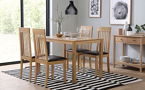 Milton Oak Dining Table with 4 Oxford Chairs (Brown Leather Seat Pads)