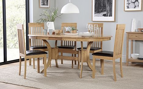 Townhouse Oval Extending Dining Table and 4 Oxford Chairs Set
