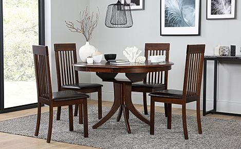 Hudson Round Dark Wood Extending Dining Table with 4 Oxford Chairs (Brown Leather Seat Pads)
