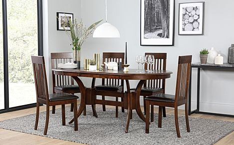 Townhouse Oval Dark Wood Extending Dining Table with 6 Oxford Dark Chairs (Brown Leather Seat Pads)