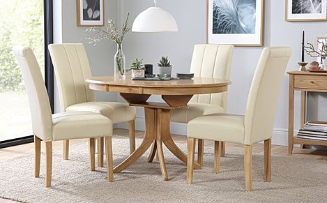 Hudson Round Oak Extending Dining Table with 6 Carrick Ivory Leather Chairs