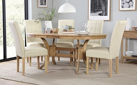 Townhouse Oval Oak Extending Dining Table with 6 Carrick Ivory Leather Chairs