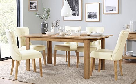Bali Oak Extending Dining Table with 6 Bewley Ivory Leather Chairs