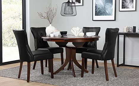 Hudson Round Dark Wood Extending Dining Table with 6 Bewley Brown Leather Chairs