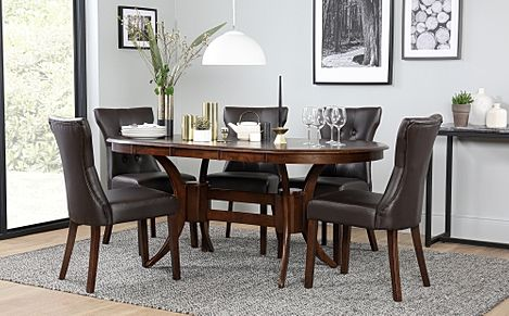 Townhouse Oval Dark Wood Extending Dining Table with 6 Bewley Brown Leather Chairs