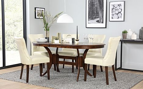 Townhouse Oval Dark Wood Extending Dining Table with 6 Bewley Ivory Leather Chairs