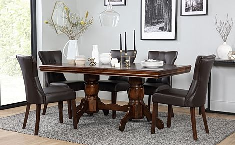 Chatsworth Dark Wood Extending Dining Table with 6 Bewley Brown Leather Chairs