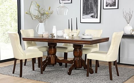 Chatsworth Dark Wood Extending Dining Table with 6 Bewley Ivory Leather Chairs
