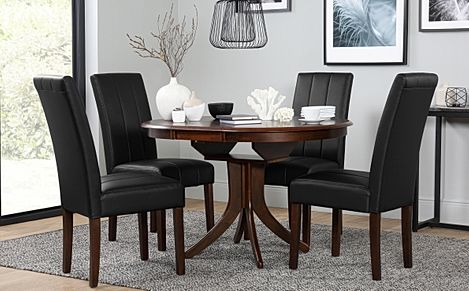 Hudson Round Dark Wood Extending Dining Table with 4 Carrick Brown Leather Chairs