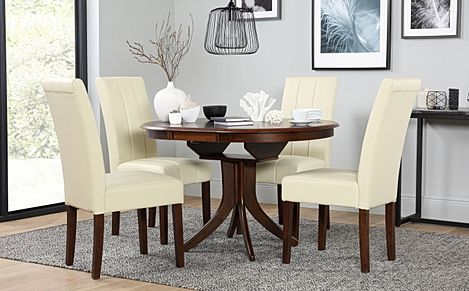 Hudson Round Dark Wood Extending Dining Table and 6 Chairs Set (Carrick Ivory)