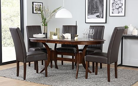 Townhouse Oval Dark Wood Extending Dining Table with 6 Carrick Brown Leather Chairs