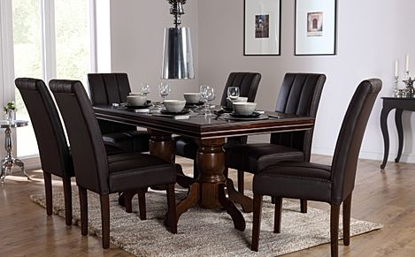 Chatsworth Dark Wood Extending Dining Table with 6 Carrick Brown Leather Chairs