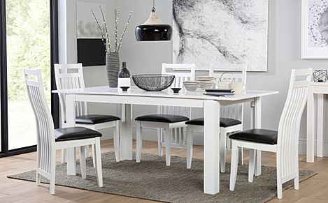 Aspen White Extending Dining Table with 6 Java Chairs (Black Leather Seat Pads)