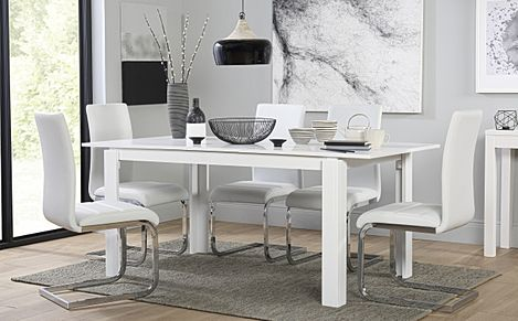 Aspen White Extending Dining Table with 4 Perth White Leather Chairs