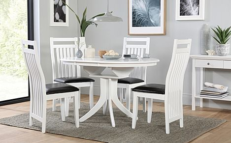 Hudson Round White Extending Dining Table with 6 Java Chairs (Black Leather Seat Pads)