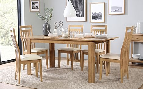 Bali Oak Extending Dining Table with 6 Bali Chairs (Ivory Leather Seat Pads)