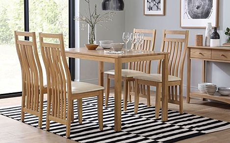 Milton Oak Dining Table with 4 Bali Chairs (Ivory Leather Seat Pads)